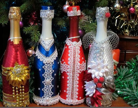 Как сделать дед Мороза и снегурочку из шампанского